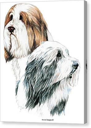 Dog Lovers Canvas Print - Bearded Collies by Kathleen Sepulveda