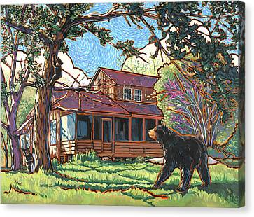 Bears At Barton Cabin Canvas Print by Nadi Spencer