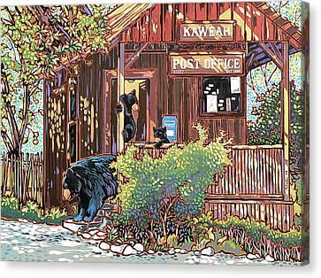 Bears At The Kaweah Post Canvas Print by Nadi Spencer
