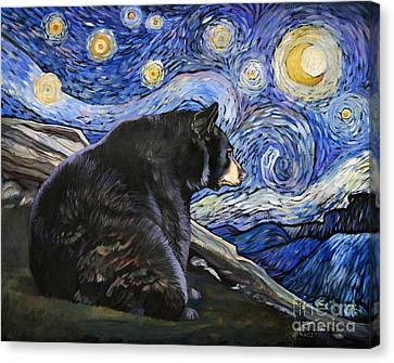 Beary Starry Nights Canvas Print by J W Baker