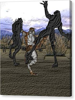 Beastcat Vs Panthermen Canvas Print by Will Davis