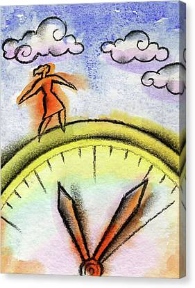 Outstretched Arm Canvas Print - Beating The Clock by Leon Zernitsky