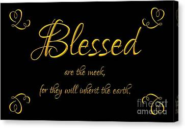 Gospel Of Matthew Canvas Print - Beatitudes Blessed Are The Meek For They Will Inherit The Earth by Rose Santuci-Sofranko