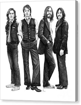 Beatles Drawing Canvas Print by Murphy Elliott