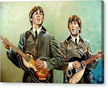 Beatles Paul And John Canvas Print by Leland Castro