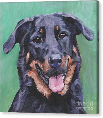 Canvas Print featuring the painting Beauceron Portrait by Lee Ann Shepard