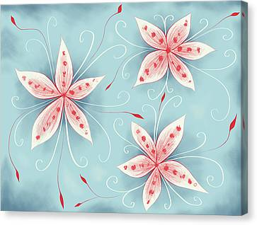 Beautiful Abstract White Red Flowers Canvas Print