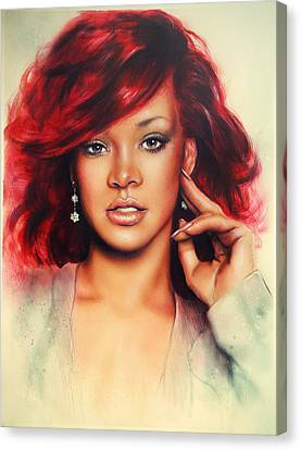 beautiful airbrush portrait of Rihanna with red hair and a face close up Canvas Print by Jozef Klopacka