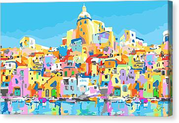 Beautiful Island Of Procido, Italy Canvas Print by Inge Lewis
