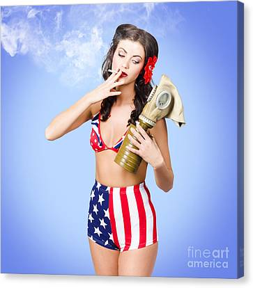 Beautiful American Army Pin-up Girl Canvas Print by Jorgo Photography - Wall Art Gallery