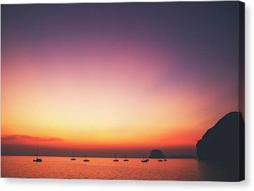 Beautiful And Serene Sunset View Over A Lagoon Bay With Couple Of Yachts And Islands In Distance Canvas Print