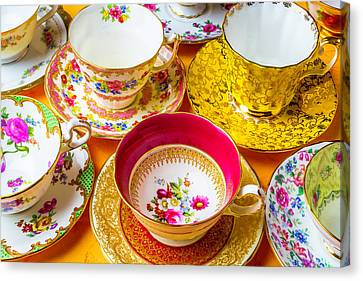 Bones Canvas Print - Beautiful Assortment Of Tea Cups by Garry Gay