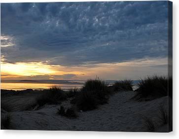 Beautiful Beach San Dunes Sunset And Clouds Canvas Print