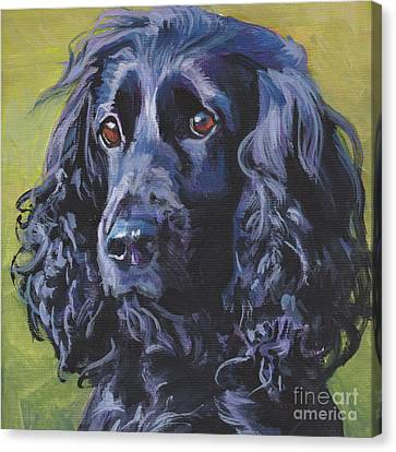 Canvas Print featuring the painting Beautiful Black English Cocker Spaniel by Lee Ann Shepard