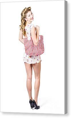 Beautiful Blond Female Shopper Holding Shop Bag Canvas Print by Jorgo Photography - Wall Art Gallery