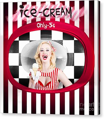 Beautiful Blonde Woman Serving Ice Cream Canvas Print by Jorgo Photography - Wall Art Gallery