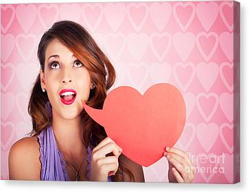 Beautiful Brunette Woman Shouting Out Love Message Canvas Print by Jorgo Photography - Wall Art Gallery