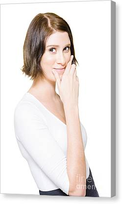 Beautiful Business Woman Putting On A Happy Face Canvas Print