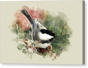 Beautiful Chickadee - Watercolor Art Canvas Print