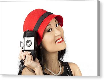 White Pearl Canvas Print - Beautiful Chinese Woman Holding Old Film Camera by Jorgo Photography - Wall Art Gallery