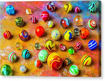 Beautiful Colored Glass Marbles Canvas Print