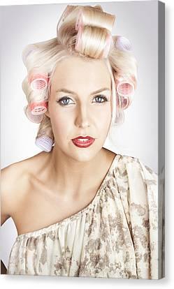 Beautiful Curly Blond Hair Girl At Beauty Salon Canvas Print
