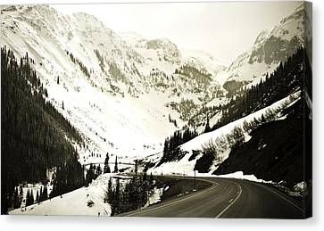 Beautiful Curving Drive Through The Mountains Canvas Print by Marilyn Hunt