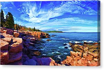 Rocky Maine Coast Canvas Print - Beautiful Day At Acadia by ABeautifulSky Photography by Bill Caldwell