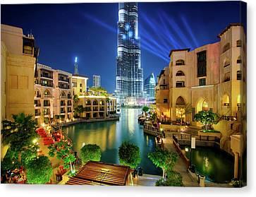 Beautiful Downtown Area In Dubai At Night, Dubai, United Arab Emirates Canvas Print