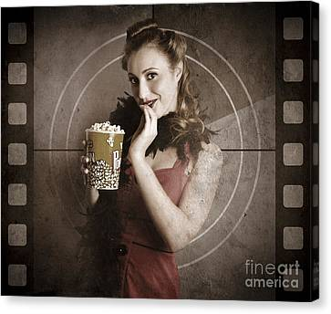 Beautiful Film Actress On Vintage Movie Screen Canvas Print by Jorgo Photography - Wall Art Gallery