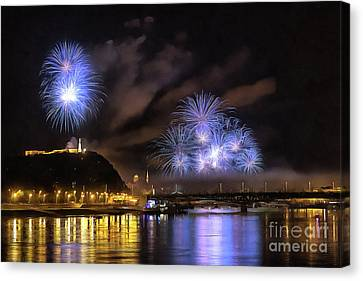 Beautiful Fireworks In Budapest Hungary Canvas Print