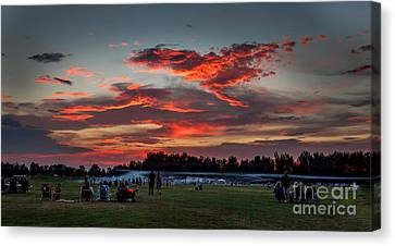 Haybales Canvas Print - Beautiful Fourth Of July Sunset by Robert Bales