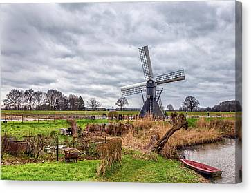 Beautiful Landscape With A Spiderhead Mill In The Netherlands Canvas Print by Tim Abeln