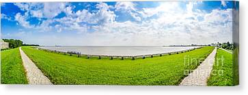 Beautiful Long Beach With Typical Northsea Beachchairs In Cuxhav Canvas Print by JR Photography