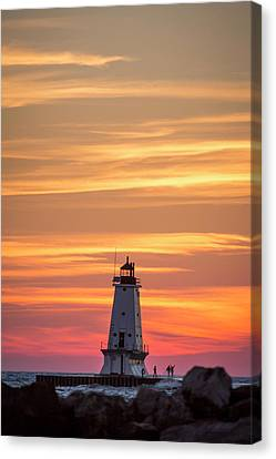 Canvas Print featuring the photograph Beautiful Ludington Lighthouse Sunset by Adam Romanowicz