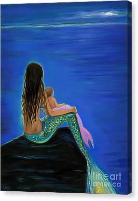 Beautiful Mermaid Baby Canvas Print by Leslie Allen