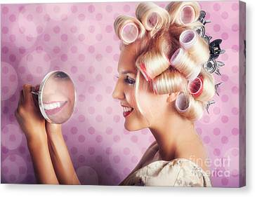 Beautiful Model With Fresh Makeup And Hairstyle Canvas Print