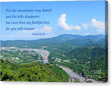 Canvas Print featuring the photograph Beautiful Mountains And River Of Southern Taiwan by Yali Shi