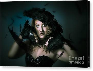 Beautiful Mystical Girl In Delicate Black Fashion Canvas Print by Jorgo Photography - Wall Art Gallery
