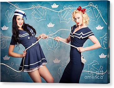 Beautiful Navy Pinup Girls On Marine Background Canvas Print by Jorgo Photography - Wall Art Gallery