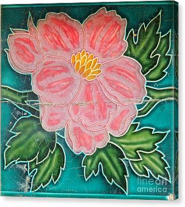 Beautiful Old Ceramic Tile Canvas Print by Yali Shi