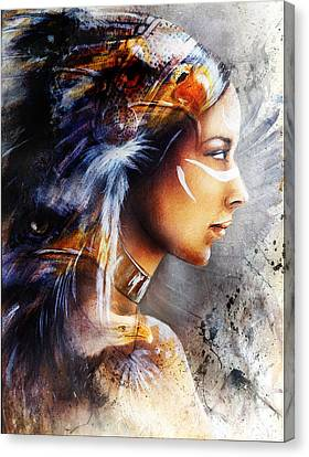 Beautiful Painting Of Native American Indian Woman With Eagleon An Abstract Textured Background Canvas Print by Jozef Klopacka