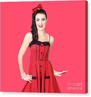 Beautiful Pinup Girl With Pretty Smile Canvas Print by Jorgo Photography - Wall Art Gallery