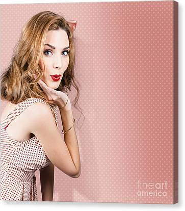 Youthful Canvas Print - Beautiful Portrait Of 1950 Model Girl In Pin Up by Jorgo Photography - Wall Art Gallery