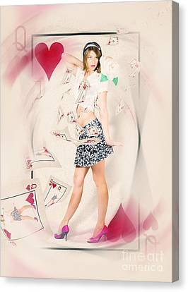 Beautiful Queen Of Hearts Playing Card Pin-up Canvas Print