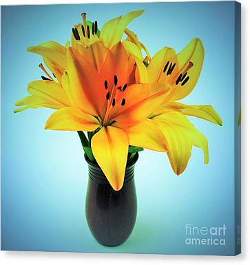 Canvas Print featuring the photograph Beautiful Royal Lilies  by Ray Shrewsberry