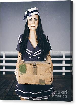 Beautiful Sailor Girl Holding Military Ammo Box Canvas Print by Jorgo Photography - Wall Art Gallery