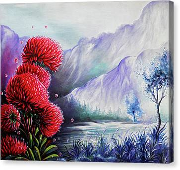 Beautiful Scenery The Red Flowers Canvas Print by Arun Sivaprasad