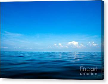 Beautiful Seascape With Blue Sea, Blue Sky And Cloud Background Canvas Print by Caio Caldas