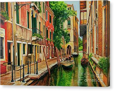 Beautiful Side Canal In Venice Canvas Print by Charlotte Blanchard
